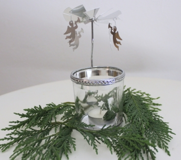Christmas light as a rotating silver metal / glass tealight carousel with Christmas motif in gift pack