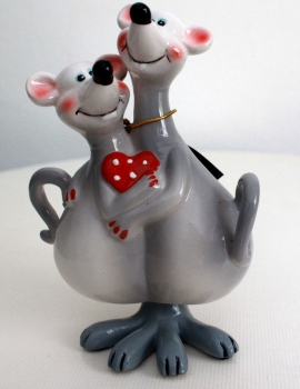 Ceramic figure as a wiggle mouse as a couple in love Susi and Mirko (15cm)