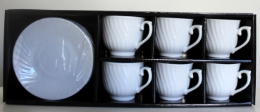Espresso cup set 12part white-corrugated 80ml (6 cups - 6 coasters) in transp. Gift wrapping