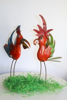 Set of 2 colorful funny birds made of metal handmade (40cm and 47cm)