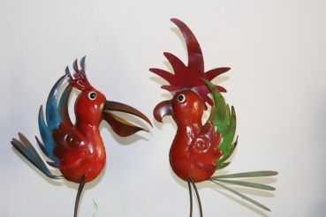 Funny bird of metal (Emma or Harry) handpainted varnished