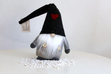 Big funny troll - wizard big with beard b/w striped shirt and cap anthrazit with red heart