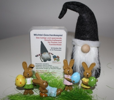 Exclusively for Easter: Wichtel Presents game with funny troll figure and 8 rabbits