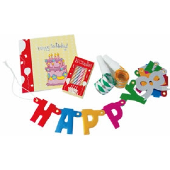 "Miniature Birthday Set ""HAPPY BIRTHDAY"" with candles, balloons, air flutes, confetti, birthday card complete in gift pack"