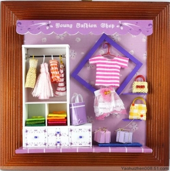 """Young Fashion Shop"" Fashion and clothing shop as a miniature DEKO-Creative kit shows the latest trends in fashion shows, fashion trends and accessories"