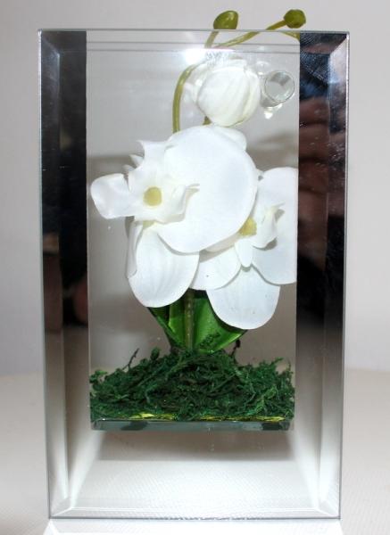 designer vase aus olertemglas mit orchidee originelle. Black Bedroom Furniture Sets. Home Design Ideas